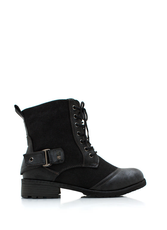 Canvas Buckle Back Combat Boots BLACK