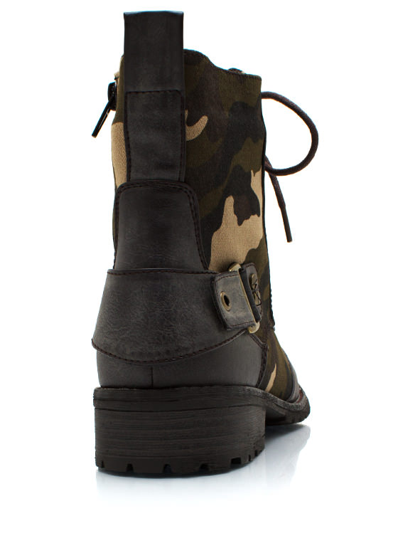Camo Buckle Back Combat Boots BROWN