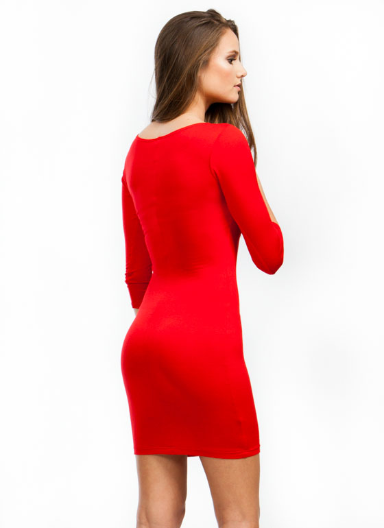 Sweet And Simple Fitted Dress RED