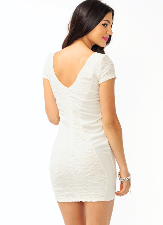 Get Textured Contrast Dress CREAM