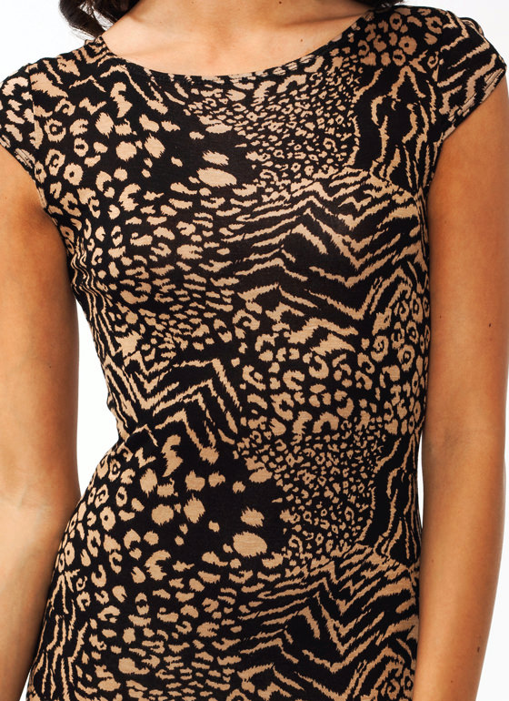 You Animal Midi Dress BLACKTAUPE