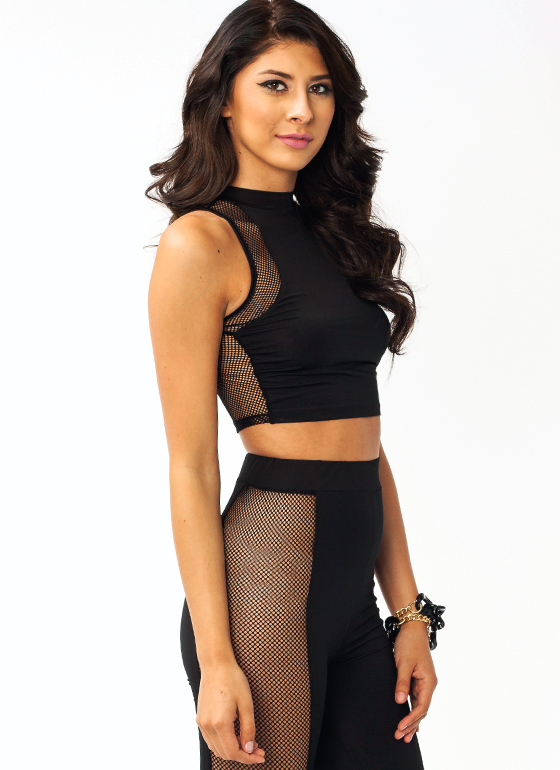 Caught In A Net Cropped Top BLACK