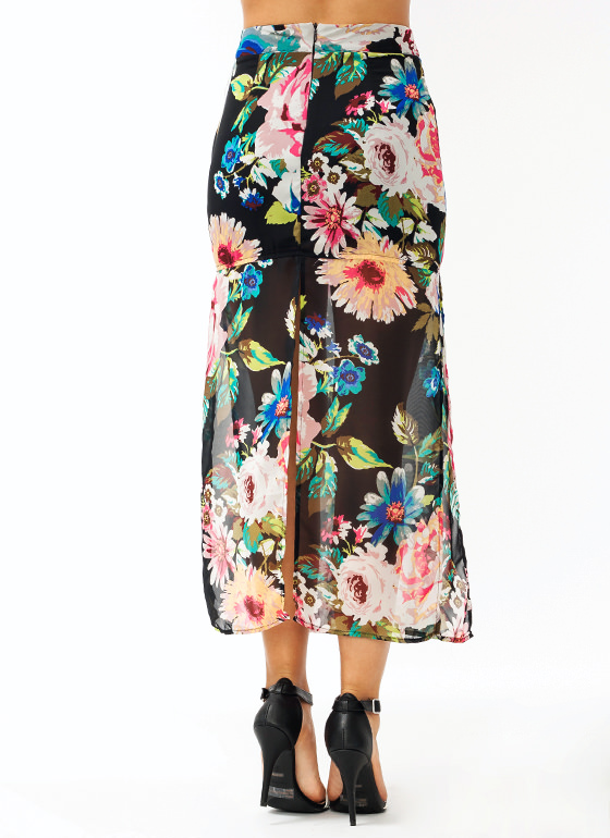 Ka Bloom Chiffon Skirt PINKBLUE