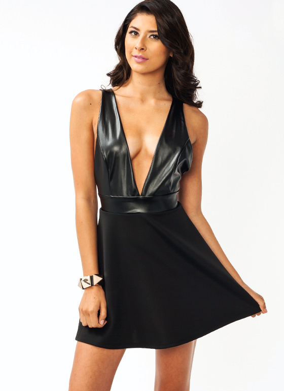 Faux Leather Contrast Skater Dress BLACK