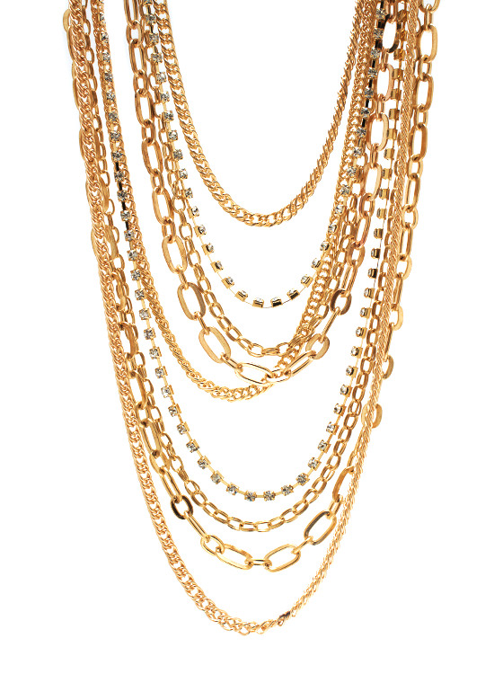 Cascading Chain Necklace Set GOLD