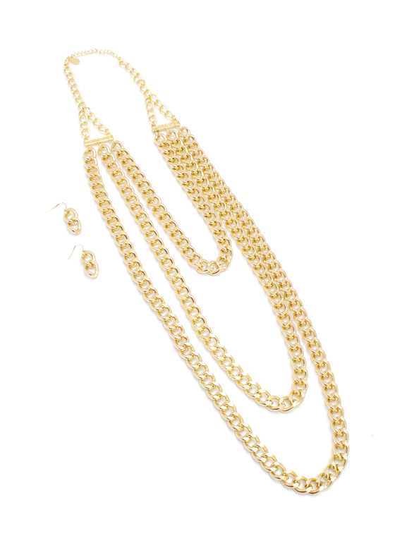 Chain Ge Things Up Necklace Set GOLD