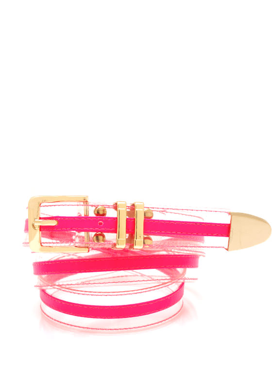 Clearly Cool Colored Belt HOTPINK