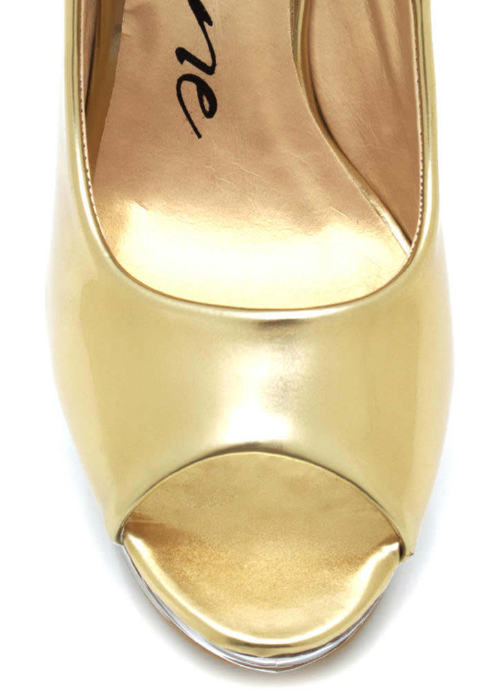 Metallic Glass Slipper Wedges GOLD (Final Sale)