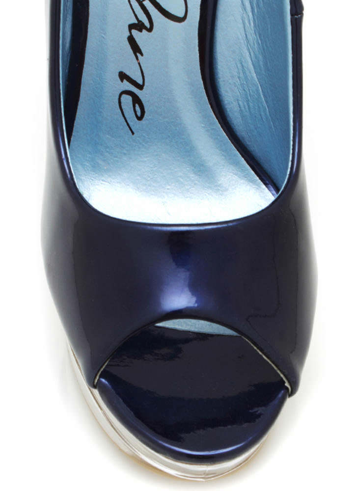 Metallic Glass Slipper Wedges NAVY (Final Sale)