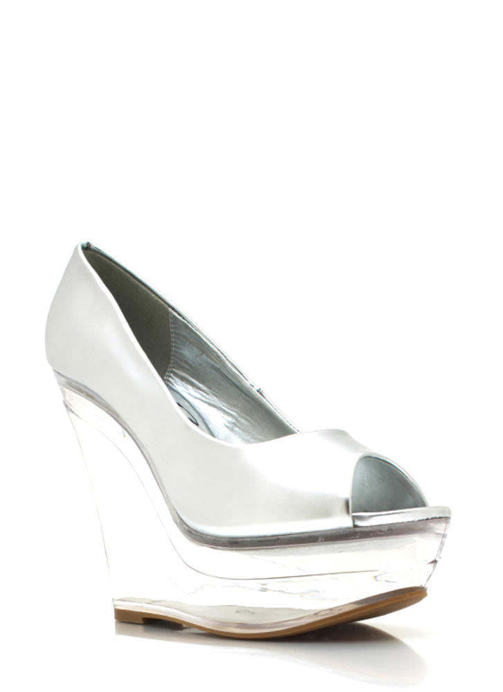 Metallic Glass Slipper Wedges SILVER (Final Sale)