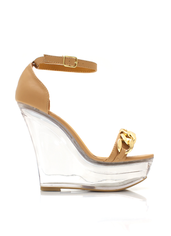 In The Clear Chain Link Wedges TAN