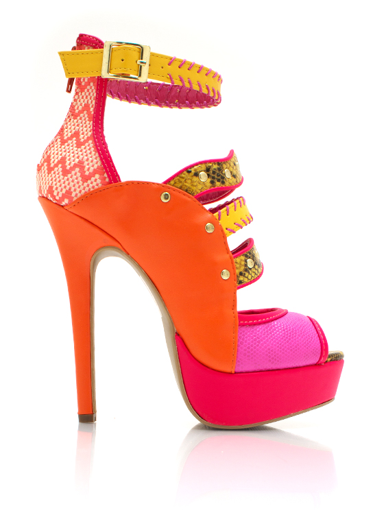 All Mixed Up Strappy Heels FUCHSIA