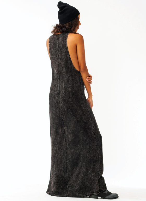 Mineral Wash Maxi Dress BLACK