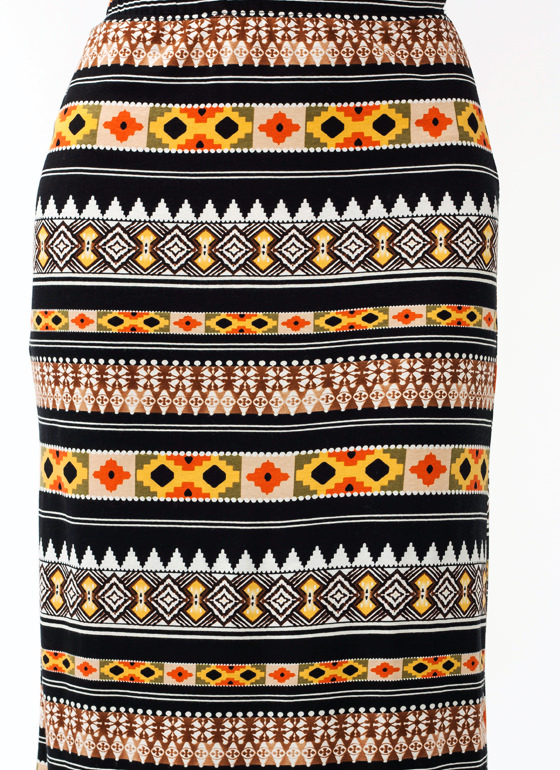 Mesa Printed Maxi Skirt BROWN