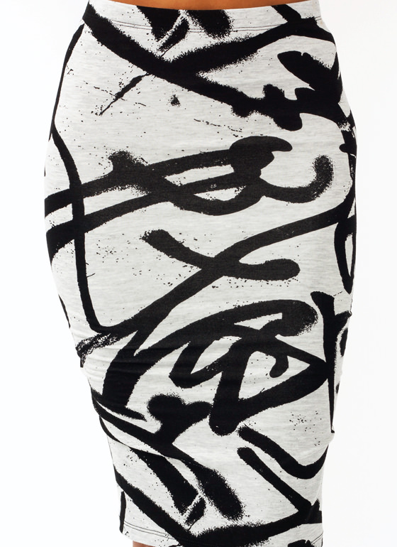 Graffiti Girl Jersey Pencil Skirt GREYBLACK
