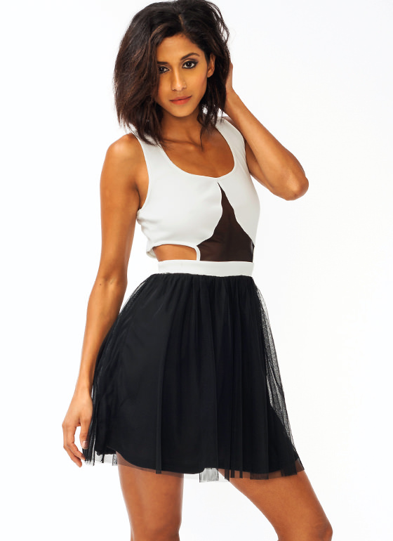 Mesh Cut Out Tulle Dress IVORYBLACK