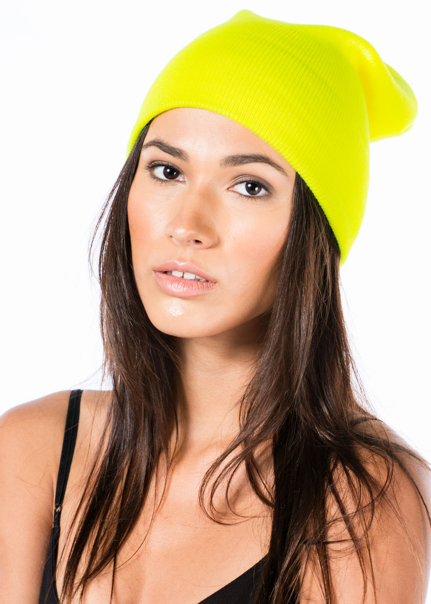 Get It Bright Fold Over Beanie NEONYELLOW
