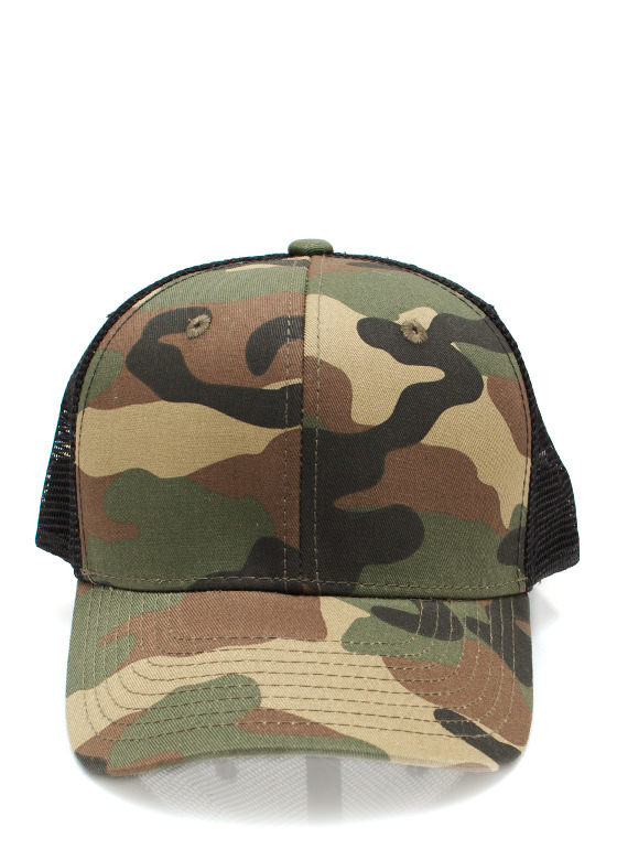 Crazy For Camo Trucker Snapback OLIVEBLACK