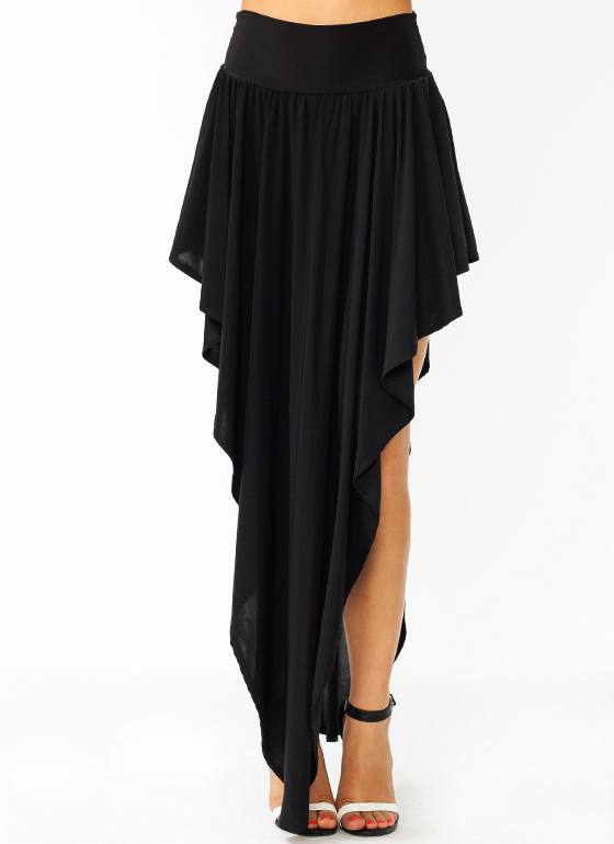 Super Solid Double V Skirt BLACK