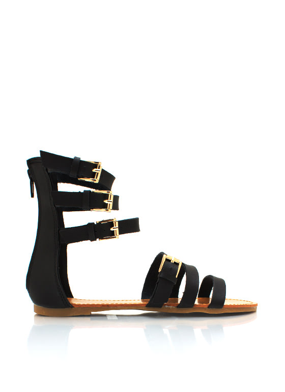 Buckle Down Strappy Sandals BLACK