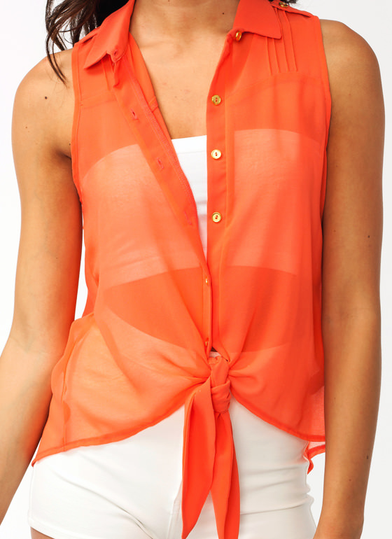 All Tied Up Pleated Blouse CORAL
