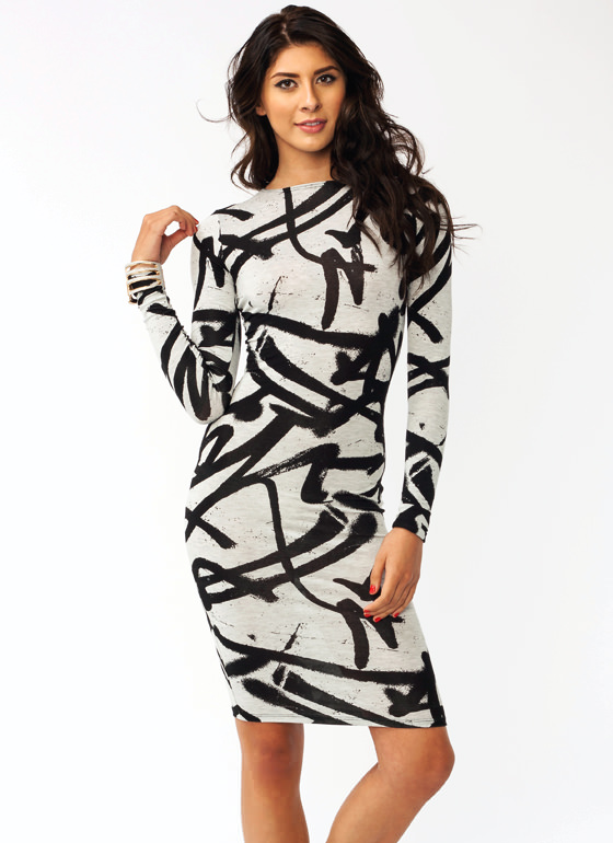 Graffiti Girl Jersey Dress GREYBLACK