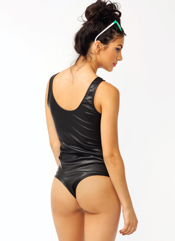 Mixed Media Faux Leather Bodysuit BLACKWHITE