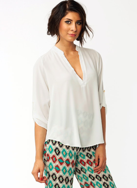 Slit It Tunic Blouse IVORY