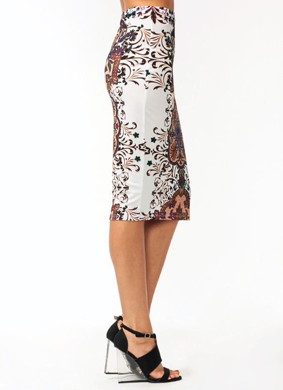 Filigree Pencil Skirt PINKWHITE