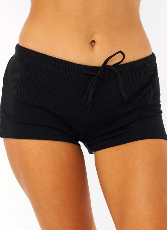 Getting Ribby With It Sweat Shorts BLACK