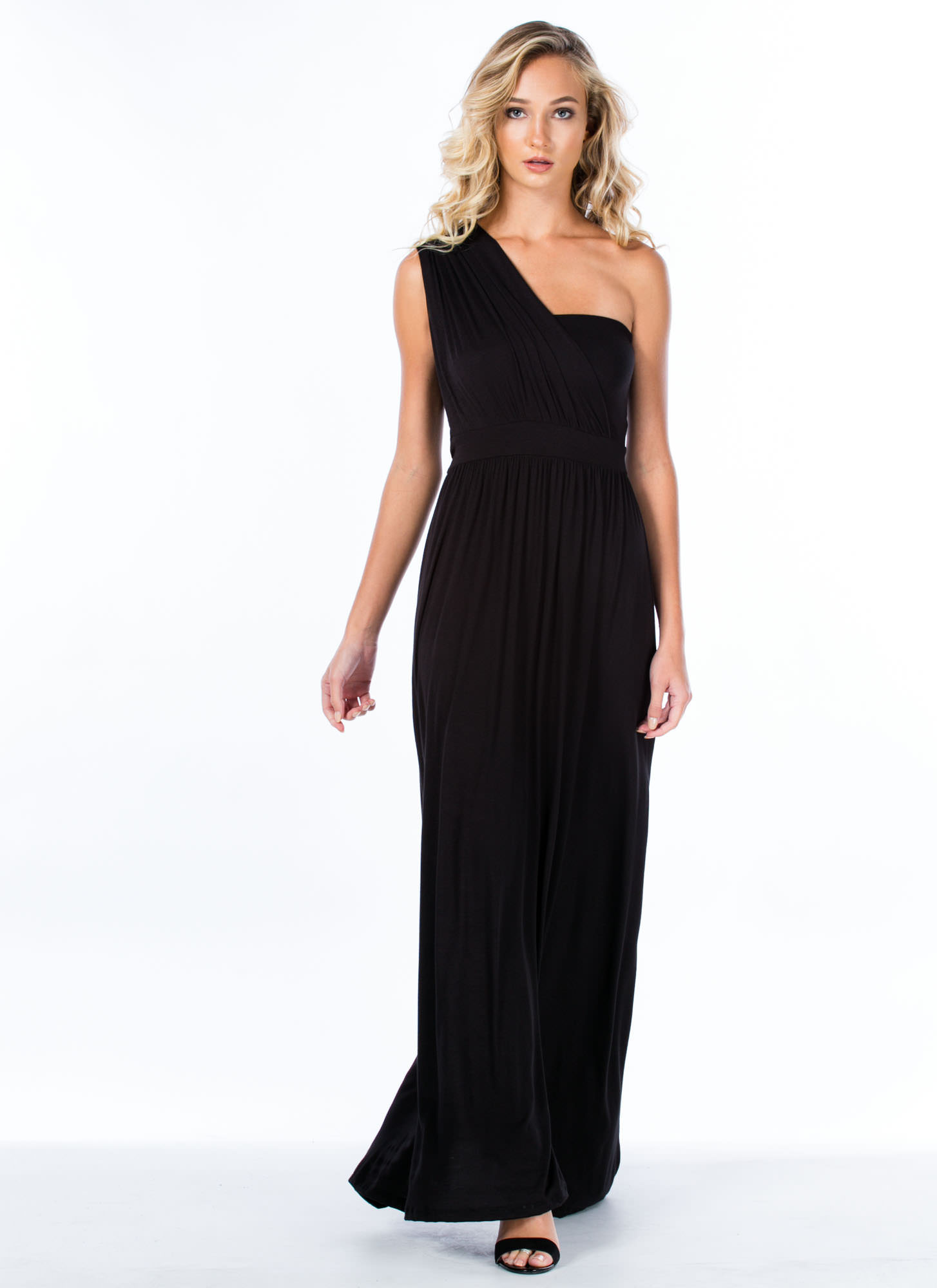 Oh Goddess Draped One-Shoulder Maxi BLACK