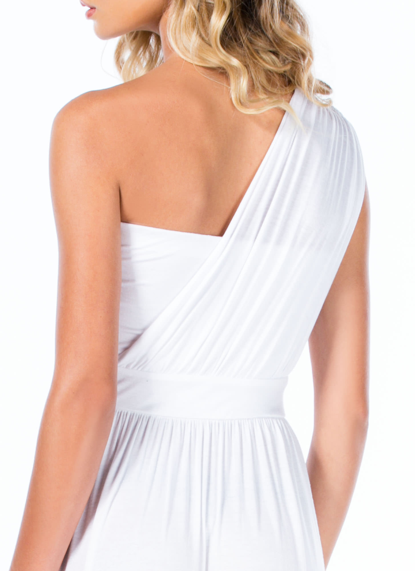 Oh Goddess Draped One-Shoulder Maxi WHITE