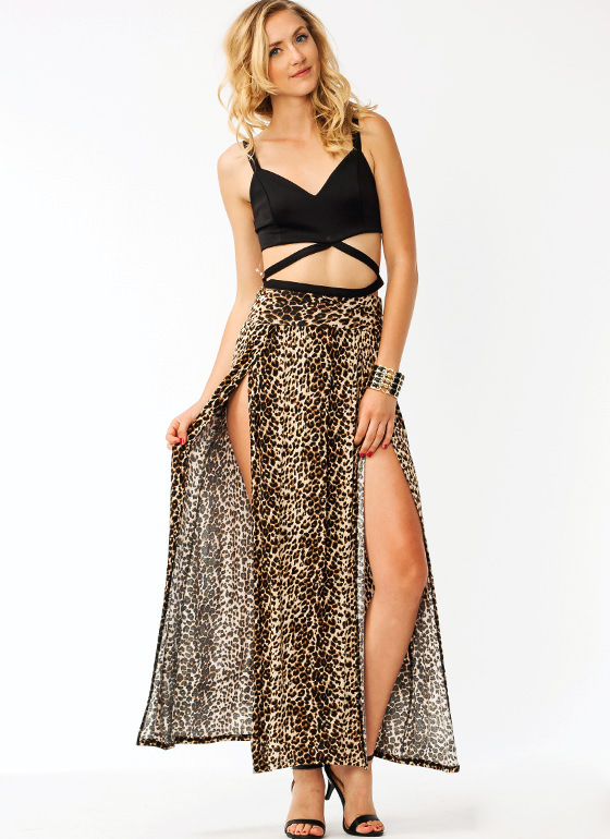 Jungle Queen Leopard Maxi Skirt BROWNLEO