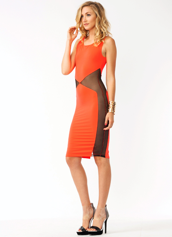 Angular Mesh Midi Dress NEONCORAL