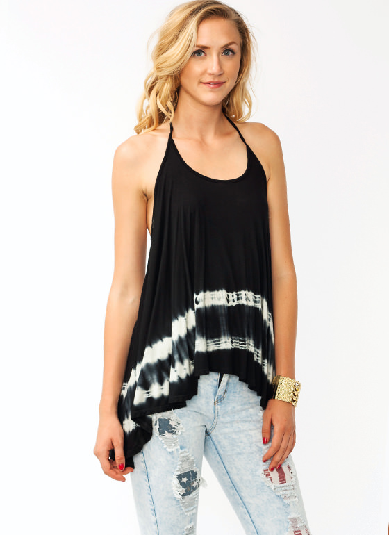 Tie Dyed Halter Top BLACK