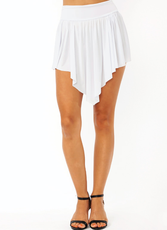 Double V Mini Skirt WHITE