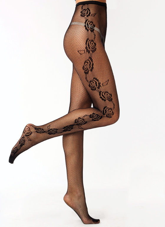 Rose Bouquet Fishnet Stockings BLACK (Final Sale)