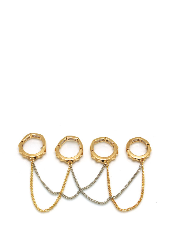 Sup Stud Chain Ring Set GOLDSILVER
