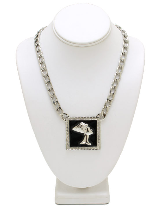 Pharaoh In A Squar O Necklace SILVERBLACK