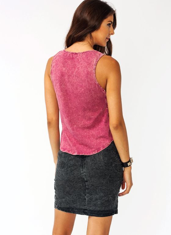 Laced In Mineral Washed Tank BURGUNDY (Final Sale)