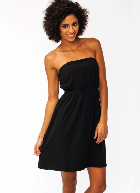 Bow Tiful Strapless Dress BLACK