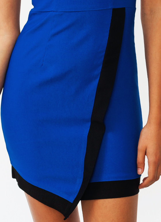 Surplice Contrast Dress ROYAL