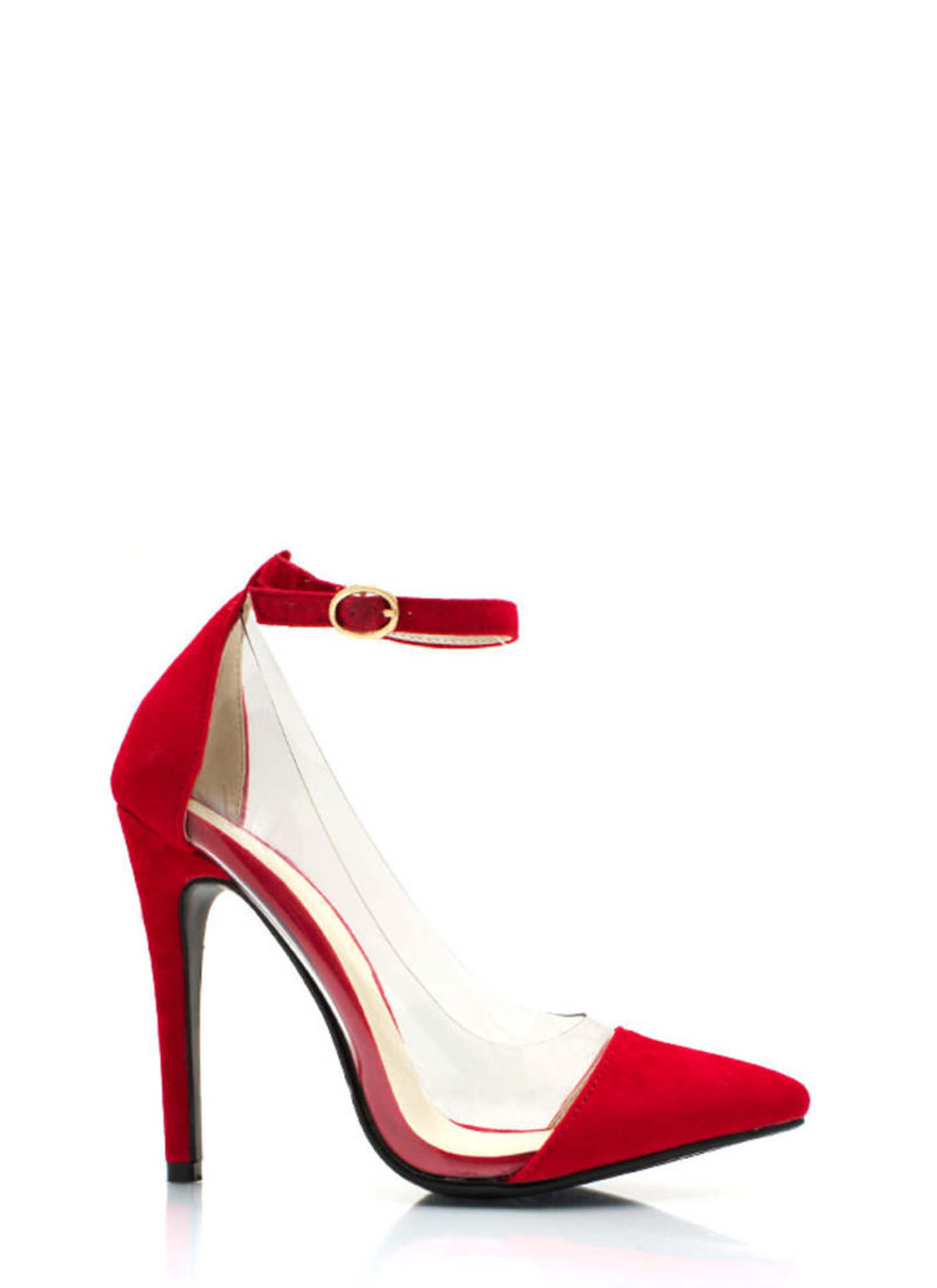 Show Some Skin Cap Toe Heels RED