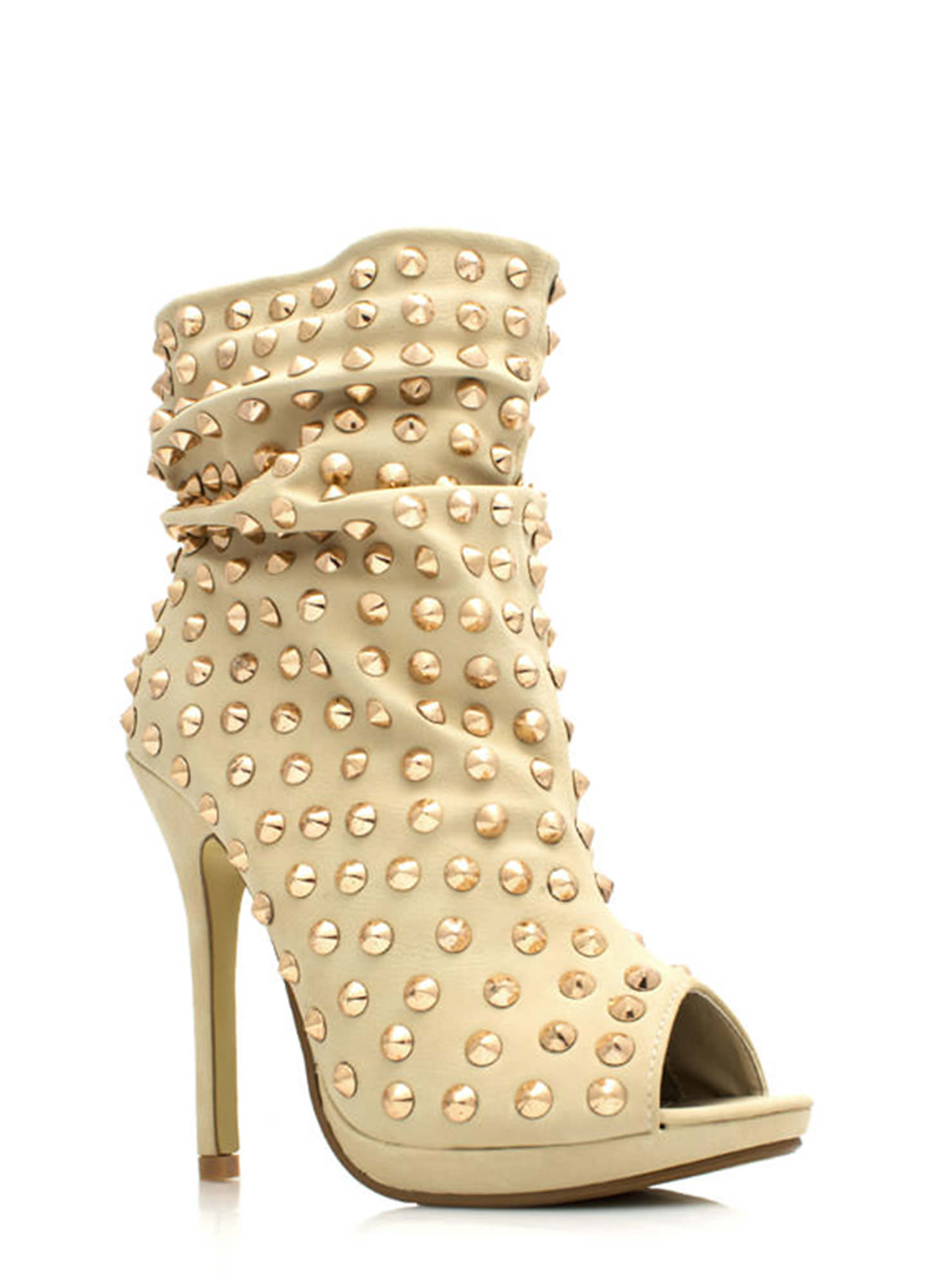 Everything Is Better Spiked Booties BEIGE (Final Sale)