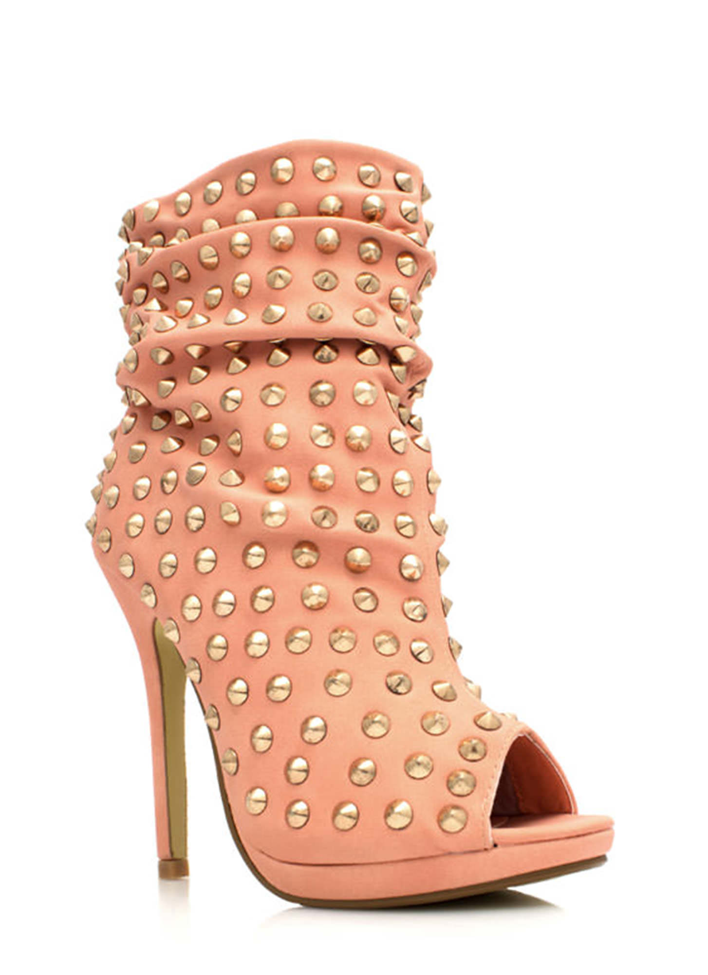 Everything Is Better Spiked Booties CORAL
