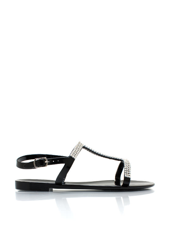 Jelly Time Embellished Sandals BLACK