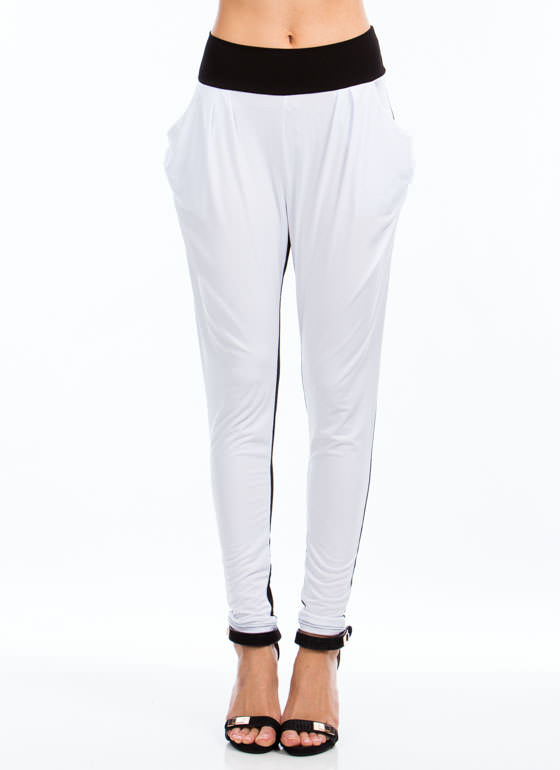 Two-Tone Harem Pants BLACKWHITE
