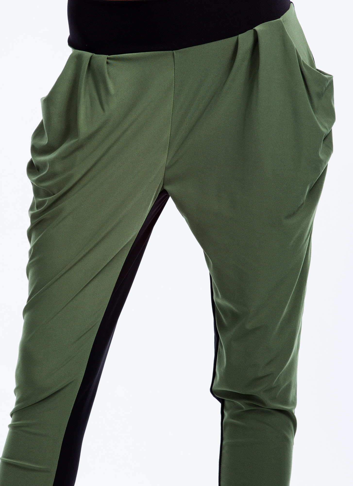 Two-Tone Harem Pants OLIVEBLACK