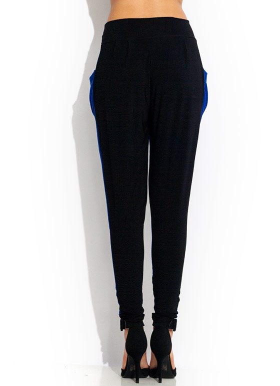 Two-Tone Harem Pants ROYALBLACK
