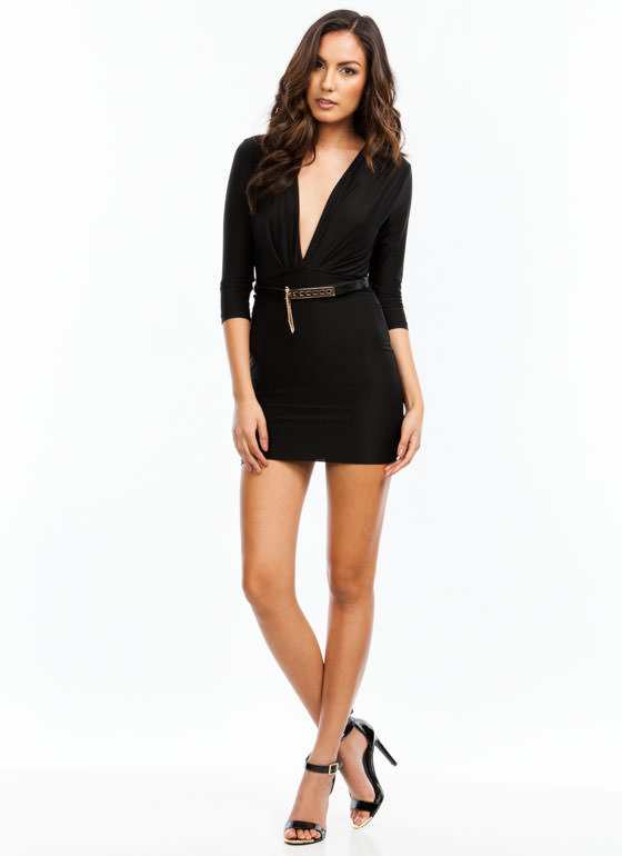 Take The Plunge Belted Mini Dress BLACK